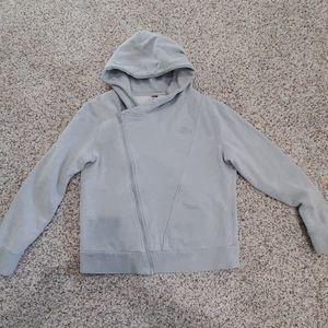 Women's grey zip-up North Face hoodie